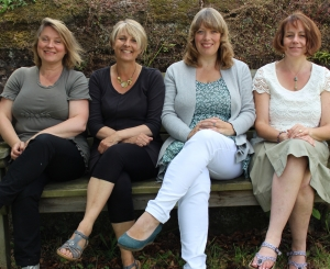 Julie Collins and Tina Parkes with Amanda Randell and Kathryn Delve. Academy of Floral art team